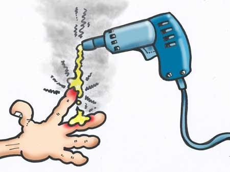 glue gun burning fingers cartoon